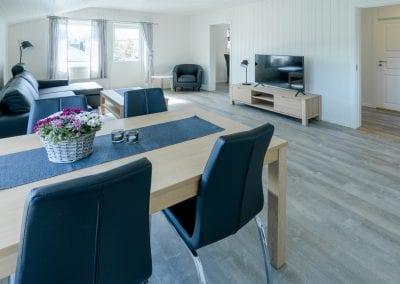 Stue med sofa, stoler. bord og TV
