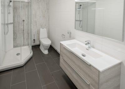 Bad med toalett, dusj, vask og speil